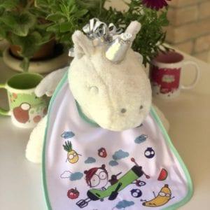 bavaglino bambino neonato illustrato disegni verde