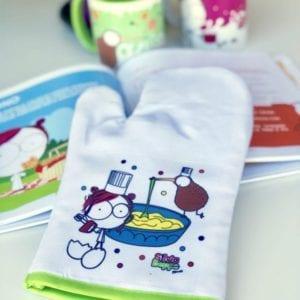 Guanto da forno divertente illustrato per bambini e mamme pasticceri