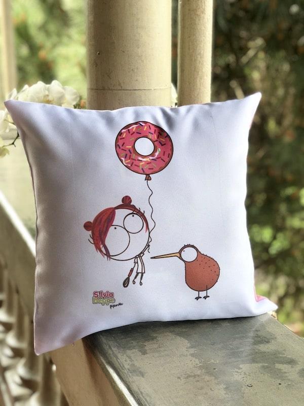 cuscino illustrato design ciambella donut rosa pasticceria gadget regalo
