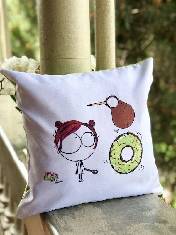 cuscino illustrato design ciambella verde pasticceria gadget regalo