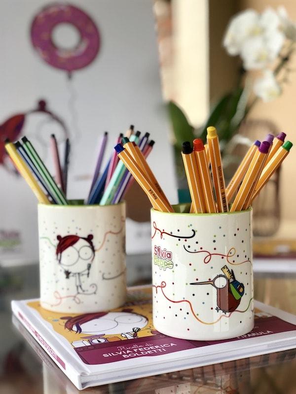 portapenne ceramica illustrato per sublimazione scuola bambini pasticceri