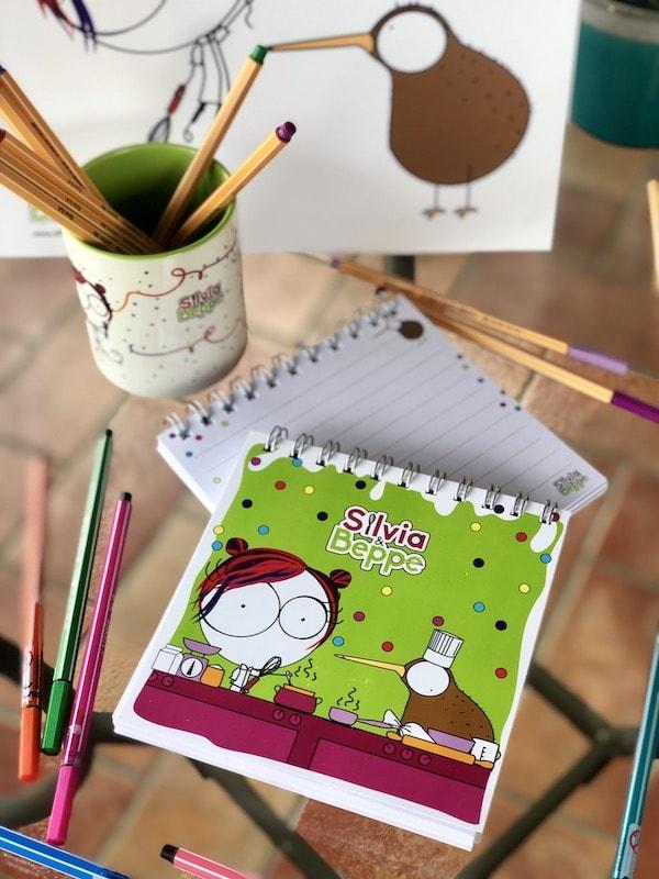 blocco illustrato verde per bambini pasticceri e mamme