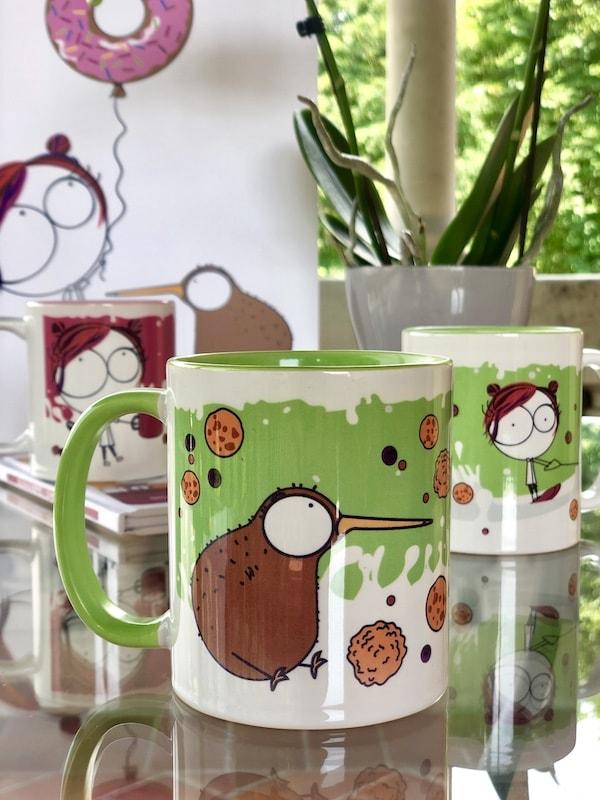 tazza mug colazione verde illustrata con cookie e kiwi bambini mamme pasticceri